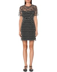 Sandro | Black Embroidered Floral-lace Dress | Lyst