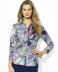 Ralph Lauren | Purple Lauren Petites Patchwork Print Shirt | Lyst