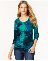 Calvin Klein Jeans Green Long-sleeve Printed Top