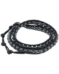 Chan Luu | 13 1/2' Matte Hematine/natural Black Double Wrap Bracelet for Men | Lyst