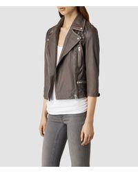 AllSaints - Natural Cropped Cargo Leather Biker Jacket - Lyst