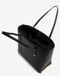 Ted Baker Black Shearling Trim Leather Shopper Bag