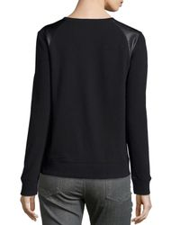 Vince Black Faux-leather-trim Sweatshirt