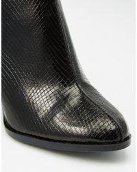 Mango | Black Snake Effect Block Heeled Ankle Boot | Lyst
