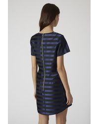 TOPSHOP Blue Matte Satin Stripe Dress