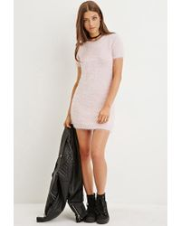 Forever 21 - Pink Fuzzy Knit Sweater Dress - Lyst