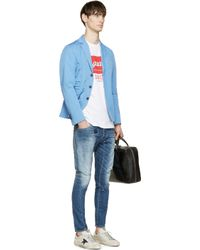 DSquared² - Blue Patched Tidy Biker Jeans for Men - Lyst