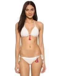 Anna Kosturova White Aztec Stripe Punta Mita Bikini
