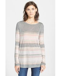 VINCE | Gray Engineered Stripe Long Sleeve Tee | Lyst