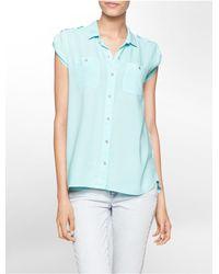 Calvin Klein | Blue Jeans High Low Utility Cap Sleeve Top | Lyst