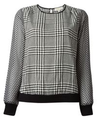 MICHAEL Michael Kors White Houndstooth Print Blouse