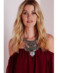 Missguided - Metallic Three Layered Tribal Coin Necklace Silver - Lyst