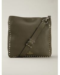 Valentino Green Rockstud Leather Cross-Body Bag