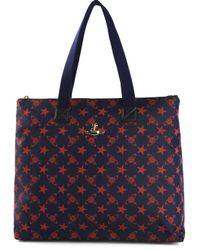 Vivienne Westwood Blue Monogram and Star Print Shoulder Bag