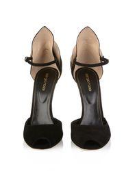 Sergio Rossi Black Fleur Suede Sandals
