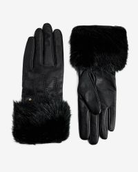 Ted Baker | Black Jania Faux Fur Leather Gloves | Lyst