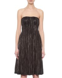 Alexander McQueen Black Strapless Pleated Leather Bustier Dress