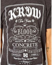 KR3W | Gray Tshirt with Blood and Concrete for Men | Lyst