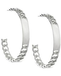 Guess | Metallic Id Link Hoop Earrings | Lyst