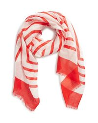 Tory Burch | Red 'Fret Retro T' Scarf | Lyst