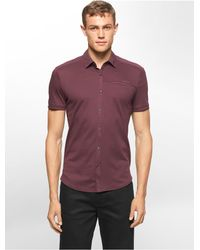 Calvin Klein - Purple White Label Classic Fit Button Front Polo Shirt for Men - Lyst