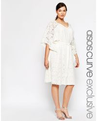 ASOS - Natural Curve Kimono Dress In Lace - Lyst