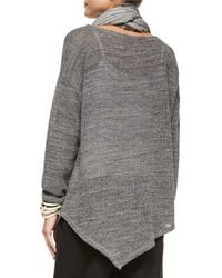 Eileen Fisher - Gray Melange Cotton Mesh Asymmetric Tunic - Lyst