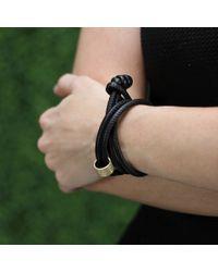 Mizuki - Black Diamond Slider Leather Wrap Bracelet/choker - Lyst