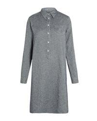 YMC - Blue Herringbone A-line Shirt Dress - Lyst
