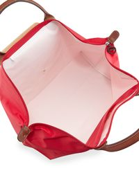 Longchamp Red Le Pliage Nylon Weekender