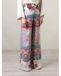 Etro Multicolor Floral Print Wide Leg Trousers