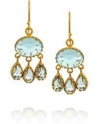 Kevia Blue Goldplated Topaz Drop Earrings