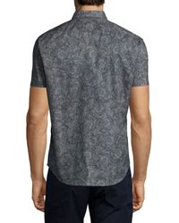 Theory | Gray Printed Short-sleeve Woven Shirt for Men | Lyst