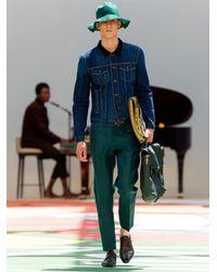 Burberry Prorsum Green Tailored Linen Trousers for men