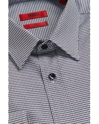 HUGO | Black Elisha01 Slim Fit Micro Houndstooth Shirt for Men | Lyst