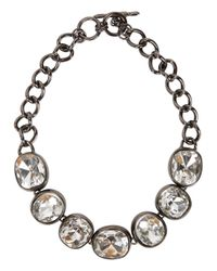 Kenneth Jay Lane | Black Crystal-embellished Gunmetal Necklace | Lyst