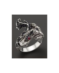 John Hardy | Metallic Naga Silver Lava Dragon Ring With Black Sapphires And Rubies | Lyst