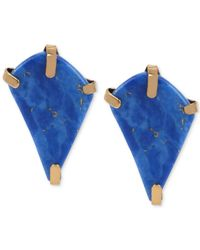 Robert Lee Morris - Bronze-tone Semi-precious Blue Bead Geometric Stud Earrings - Lyst