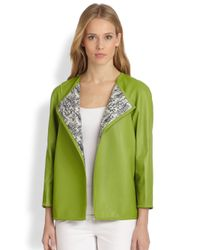 Lafayette 148 New York | Green Venus Leather Topper | Lyst