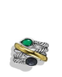 David Yurman - Metallic Viridian Crossover Ring With Green Onyx, Gray Sapphires & Gold - Lyst