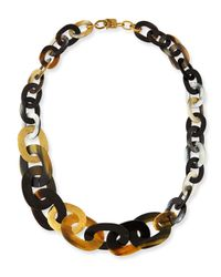 Ashley Pittman | Black Laini Mixed Horn & Bronze Necklace | Lyst