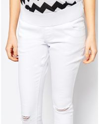 ASOS | Maternity Ridley Skinny Jeans In White With Rip And Destroy | Lyst