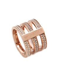 Michael Kors Pink Tri Stack Open Pave Bar Ring Rose Goldclear
