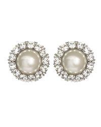 Ben-Amun | Metallic Round Pearl Crystal Studs | Lyst