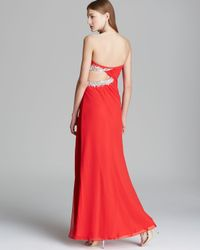 Faviana Couture Red Gown Side Cutout Beaded Slip