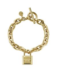 Michael Kors - Metallic Chain Link Padlock Toggle Bracelet - Lyst