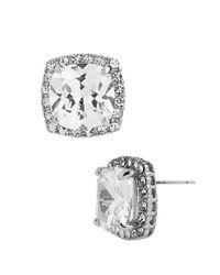 Betsey Johnson Metallic Square Silvertone And Cubic Zirconia Stud Earrings