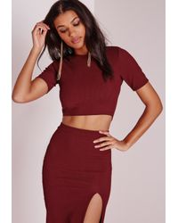 Missguided | Purple Open Back Hunsa Crop Top Burgundy | Lyst