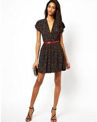 Little Mistress | Black Polka Dot Dress with Belt | Lyst