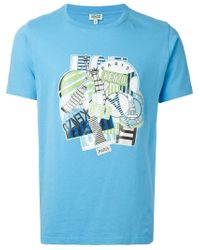 KENZO | Blue Multi Logo Print T-Shirt for Men | Lyst